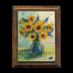Sunflowers in a Glass Vase Painting Sunny Pictures, Frame Sizes, Still Life, Oriental, Glass Vase, Miniature Paintings, Miniatures, Portrait, Sunflowers