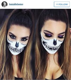 Best representation descriptions: Half Skull Halloween Makeup Related searches: Easy Skeleton Makeup,Half Skeleton Makeup,Skeleton Makeup T. Pretty Skeleton Makeup, Halloween Skeleton Makeup, Half Skull Makeup, Halloween Makeup Looks, Halloween Kostüm, Half Skull Face Paint, Skeleton Makeup Half Face, Halloween Costumes, Party Costumes