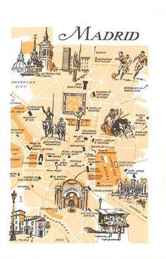 Madrid Map Wall Decor / City of Madrid Spain World Travel Art ...