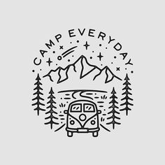 Recent one for ⛺️ Still really busy with a bunch of different projects right now which Im excited to eventually share! Line Art, Camping Drawing, Simple Doodles, Simple Lines, Easy Drawings, Doodle Art, Blackwork, Art Sketches, Graphic Design