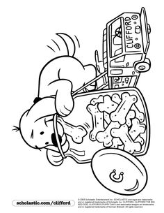 snack time for clifford coloring page