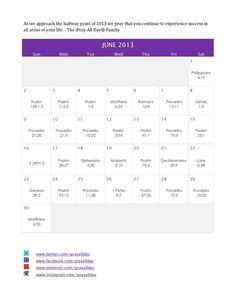 """June 2013 """" Success"""" Prayer Calendar"""