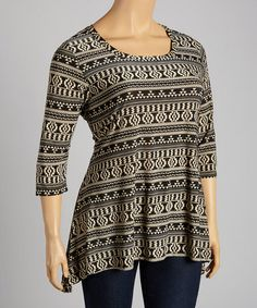 Another great find on #zulily! Taupe & Black Tribal Scoop Neck Tunic - Plus #zulilyfinds