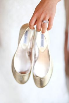 Gold flats and a beautiful engagement ring: http://www.stylemepretty.com/little-black-book-blog/2014/09/30/romantic-paso-robles-winery-wedding/ | Photography: B. Schwartz - http://bschwartzphotography.com/