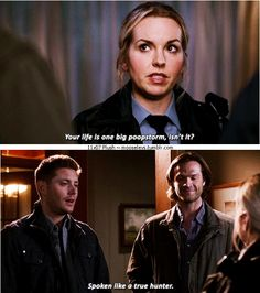 "11x07 Plush [gifset] - ""Your life is one big poopstorm, isn't it?"" - Donna Hanscum, Sam and Dean Winchester; Supernatural"