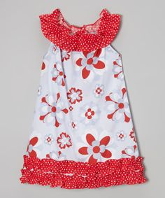Take a look at the BeMine Red & Gray Floral Yoke Dress - Infant, Toddler & Girls on #zulily today!