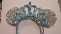 Cinderella Crown Headband - Disney Party - innie Ears with Large Blue Princess Crown by Mamaof3CraftSupplies on Etsy