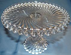 Antique Ball & Swirl Elegant McKee Pattern Glass Pedestal Cake Plate Stand EAPG