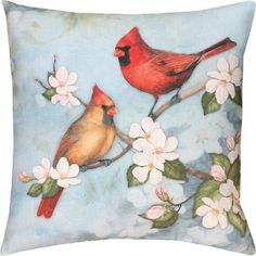 Cardinals On A Dogwood Tree Branch Indoor/Outdoor Weather Resistant Fabric Pillows (Set of two 18 x 18 inch) ** See this great product. (This is an affiliate link) Patio Cushions, Outdoor Throw Pillows, Decorative Throw Pillows, Pillow Set, Throw Pillow Covers, Pillow Talk, Dogwood Trees, Spring Birds, Branch Decor