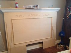 So, I saw a fireplace mantel online and fell in love with it. I searched online for ones for sale and almost fainted because they were soooo expensive. Chevron Headboard, Tapestry Headboard, Modern Headboard, Headboard Designs, Headboard Ideas, Fireplace Mantle Headboard, Fireplace Mantels, Fireplaces, Mantles