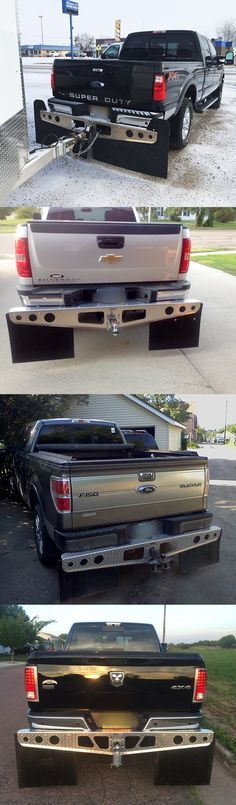 Here's a collection of shots that our customers have sent us of their trucks with ROCKSTAR Hitch Mounted Mud Flaps installed.