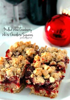 Mulled Wine Cranberry White Chocolate Squares by joandsue.blogspot.com