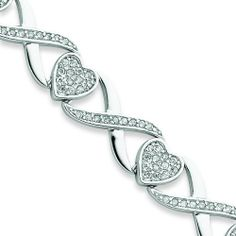 Silver 7.25in Heart and X CZ Link Bracelet. Metal Weight- 18.2g. Jewelrypot. $103.99. 30 Day Money Back Guarantee. 100% Satisfaction Guarantee. Questions? Call 866-923-4446. Your item will be shipped the same or next weekday!. Fabulous Promotions and Discounts!. All Genuine Diamonds, Gemstones, Materials, and Precious Metals