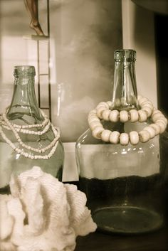 vintage bottles and beads