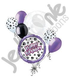 7 pc Puppy Paw Prints Happy Birthday Balloon Bouquet Dog Animal Girl Lavender