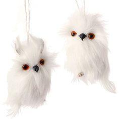 8 White Fuzzy Feather Standing Owl Christmas Ornament  White