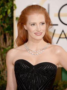 Golden Globes 2014 - Jessica Chastain wearing a vintage diamond Bulgari necklace. Source: Getty / Jason Merritt