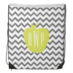 Gray Chevron And Neon Apple Monogram Teacher Drawstring Bags from The Pink Schoolhouse