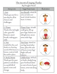 Gratitude Yoga Sequence: The Secret of Saying Thanks printable | Kids Yoga Stories