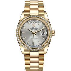Rolex Day-Date 36mm Yellow Gold Diamond Bezel 118348 Silver Index... ($37,146) ❤ liked on Polyvore featuring jewelry, watches, crown jewelry, diamond bezel watches, gold watches, rolex watches and silver jewelry