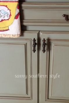 olive green chalk paint | ... - kitchen cabinet knobs, Annie Sloan Chateau Gray paint on cabinet