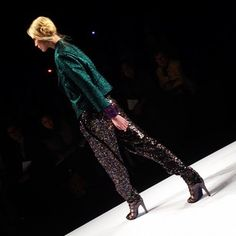 The WSJ's Elizabeth Holmes said that Rebecca Minkoff opened with a sequin pant, which the designer told Elizabeth is a must have for fall. #minkoff #nyfw