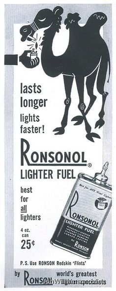 Ronsonol lighter fuel ad