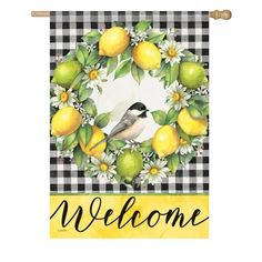 Lemon Kitchen Decor, Kitchen Yellow, Fresh Wreath, Side Garden, House Flags, Summer Garden, Garden Flags, How To Make Wreaths, Ideas