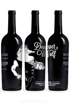 Dapper Wolf Cabernet Wine Label Design Black & White Bottle. Fab #design and #packaging PD