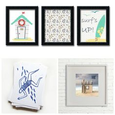 The Picture Garden: Austrian Etsy . takes you to the beach! Beach Wall Art, Linocut Prints, Wall Art Sets, Diorama, Garden, Frame, Etsy, Picture Frame, Garten