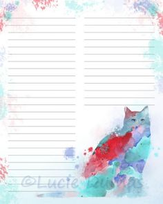 Digital Printable Journal Page Cat 609 red aqua blue Stationary 8x10 Download Scrapbooking Paper Template art painting L.Dumas by DigitalsbyLucie on Etsy
