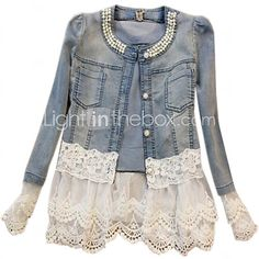 Giacca di jeans Da donna Casual Antico Vintage Romantico Primavera Autunno,Tinta unita Rotonda Corto Manica lunga Con perline Pizzo del 2017 a €17.45