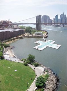 A floating swimming pool for New York's East River designed by PlayLab has been approved by city planners ten years after it was first proposed. East River, Pool Designs, New York City, Swimming Pools, Architecture Design, Nyc, Water, Outdoor, David Lee