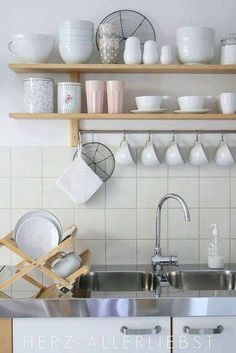 sunny day in our kitchen IKEA Varde shelf for over that long butcher block? Hang pots & pans, storage for less used items above?IKEA Varde shelf for over that long butcher block? Hang pots & pans, storage for less used items above? Kitchen Wall Shelves, Kitchen Storage, Kitchen Decor, Kitchen Ideas, Kitchen Design, Kitchen Cabinets, Kitchen Sink, Kitchen Organization, Organization Ideas