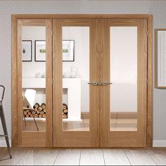 Easi-Frame Oak Door Set, GOSHAP10-COEOP17L, 2005mm Height, 2270mm Wide. #glazedinternaldoor #doorswithscreens #internaldoorswithframes
