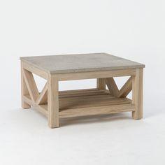 stone teak coffee table - Cb2 Element Couchtisch