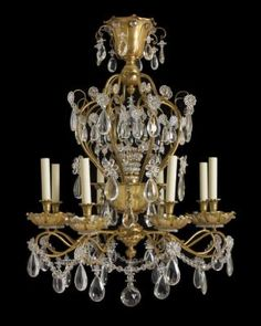 "Marvin Alexander,Inc. ""JANSEN"" Gilt Bronze and Crystal Eight Arm Chandelier. Each Bobeche Is Wired With Two Sockets Along With A Wired Lower Bowl And A Wired Center Crystal Sprays"