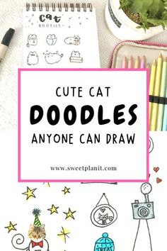 Cute Cat Doodles Anyone Can Draw: How to Draw Cats! Add them to your planner, bullet journal, or sketchbook. Making A Bullet Journal, Bullet Journal Hacks, Bullet Journal Layout, Bullet Journal Inspiration, Journal Ideas, Bullet Journals, Love Doodles, Kawaii Doodles, Simple Doodles