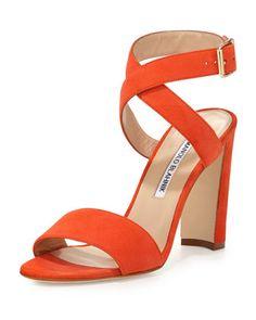 Tondala+Suede+Ankle-Wrap+Sandal,+Orange+by+Manolo+Blahnik+at+Neiman+Marcus.
