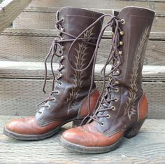 Vtg Tony Lama Embroidered Lace up Boots  //  Fancy Roper Packer  //  womens 8/8.5 mens 7D