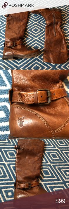 Frye Boots Brown Leather Buckle Frye Boots. Size 6. Really great condition!! Frye Shoes Combat & Moto Boots