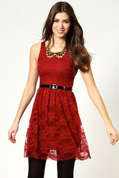 Polly Sleeveless Belted Lace Skater Dress boohoo.com