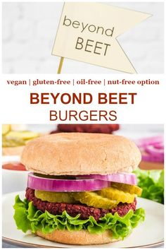 These vegan burgers are beyond meat and beyond processed! Not trying to imitate the beyond burger, these vegan beet burgers are made with whole foods plant-based ingredients - and are delicious! This is an easy recipe and is fully vegan, plant-based, gluten-free, oil-free and with a nut-free option!    #vegan #beyondburger
