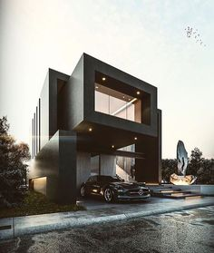 Modern home design Amazing Architecture, Contemporary Architecture, Architecture Design, Contemporary Decor, Villa Luxury, Millionaire Homes, Luxury Homes Dream Houses, Dream House Exterior, Black House