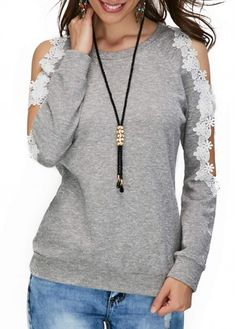 Long Sleeve Lace Panel Grey Blouse, fall tops for women, high quality and free shipping worldwide, check it out, rosewe.com.