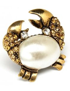 GOLD CRYSTAL & PEARL BEAD CRAB LADIES FASHION STRETCH RING - Fashion Rings - Rings - Jewellery