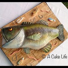 Large Mouth Bass Grooms Cake! One of the best cakes we've ever made! Bride requested it to look as realistic as possible!  #Padgram