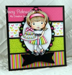 From our Design Team! Card by Tracey Pickersgill featuring Birthday Cake Marci and the Heart Ribbon Corner Die :-) Shop for our products here - http://lalalandcrafts.com/ Coloring details and more inspiration from our Design Team here - http://lalalandcrafts.blogspot.ie/2014/06/inspiration-friday-stripes.html