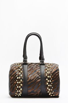 Animal Print Studded Bowler Bag