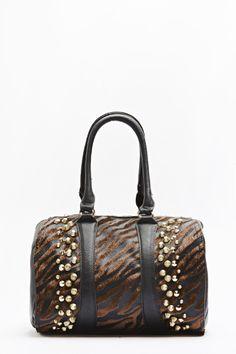 Animal Print Studded Bowler Bag